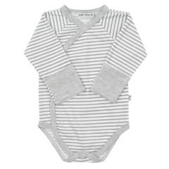 Celorozepínací body dl. rukáv s rukavičkami Šedo-bílé pruhy Baby Service