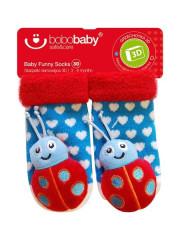 Kojenecké ponožky s chrastítkem 0 - 12 měsíců MODRÉ s beruškou
