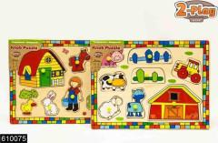 Vkládačka dřevěná 2-Play 8ks farma