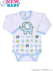 Kojenecké body s dlouhým rukávem New Baby Sloník bílo-modré