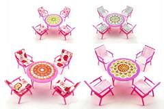 Nábytek pro panenky- stul+4 židle se sedáky 4barvy v sáčku