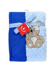 Dětská dvouvrstvá chlupatá deka Bobo Baby modrá s medvědem