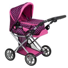Multifunkční kočárek pro panenky PlayTo Elsa růžovo-černý