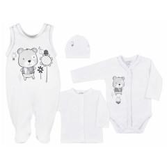 4-dílná kojenecká souprava v Eko krabičce Koala Darling bílá vel. 68