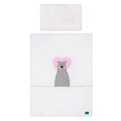 3-dílné ložní povlečení Belisima Bear in love 100 x 135 cm růžové