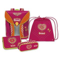 Školní set Scout - 4-dílný - růžové srdíčko I.