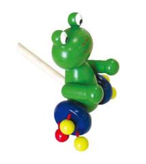 Žába na tyči dřevěná