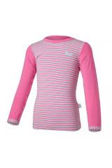 Tričko tenké proužek DR Outlast® - tm.růžová/pruh růžovozelený