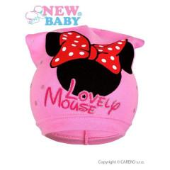 Jarní dětská čepička New Baby Lovely Mouse vel. 104 SVĚTLE RŮŽOVÁ