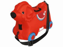 Kufřík odstrkovadlo pejsek červený s kolečky BIG