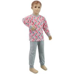Bavlněné pyžamo srdíčka růžovo-šedé Esito vel. 104