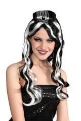 Paruka černo/bílá - dlouhé vlnité vlasy