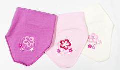Bavlněný nákrčník - šátek na suchý zip s aplikací kytičky RDX