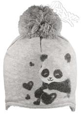 Zimní čepice na uši s bambulkou a pandou šedá RDX