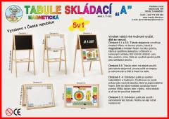 Tabule skládací A 5v1 dřevo 45x90x37cm magnetická v krabici