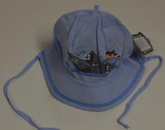 Chlapecký klobouček zavazovací s LOĎKOU vel. 42 - MODRÝ