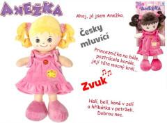 Panenka Anežka hadrová/plyš 36cm na baterie česky mluvící a zpívající