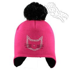 Dívčí čepice tvarovaná na uši Růžová kočka RDX