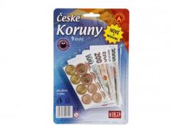 Dětské peníze - České koruny - bankovky s mincemi