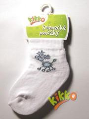 Kojenecké ponožky bavlna KIKKO 6-12 m bílé s modrým jelenem typ 33
