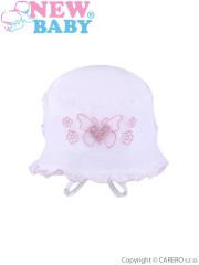 Letní dětský klobouček New Baby Sweet Butterfly vel. 80 BÍLÝ