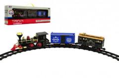 Lokomotiva s vagónky a dráhou