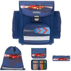 Školní batoh Herlitz Midi červené auto vybavený SET