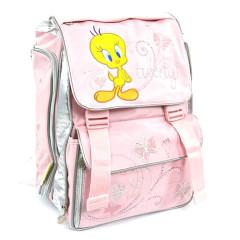 Školní batoh Tweety - ptáček a motýlci - růžový