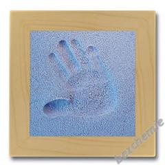 Otisk ručičky nebo nožičky v písku - modrý s rámečkem