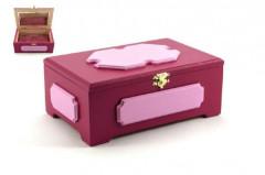 Skříňka šperkovnice se zrcadlem dřevo růžová