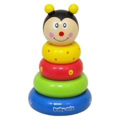 Dřevěná hračka Baby Mix - věž 18+ Včelka
