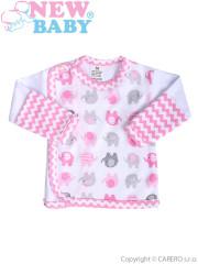 Kojenecká košilka New Baby Sloník bílo-růžová vel. 56