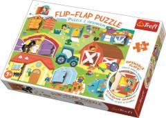 Puzzle s otevíracími okénky 36 dílků Flip-flap Na farmě