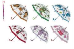 Deštník průhledný vystřelovací s motivem 66 cm