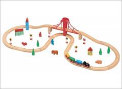 Vláčkodráha sada s velkým nosníkovým mostem 50ks