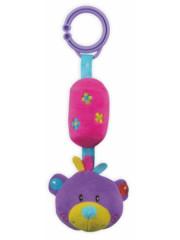 Dětská plyšová hračka s rolničkou - růžovo-fialový medvídek