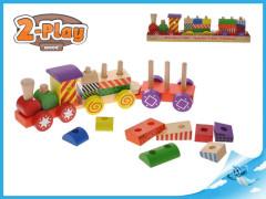 Vláček + 2 vagóny dřevěný 2-Play