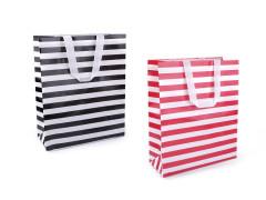 Nákupní taška s pruhy malá 23,5x32,5 cm omyvatelná