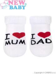 Kojenecké froté ponožky New Baby bílé I Love Mum and Dad vel. 62