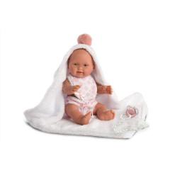 Panenka - New Born holčička s růžovou bambulí 26 cm