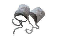 Kojenecká zavazovací bavlněná čepička Hvězdičky úplet šedý Baby Service