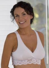 Podprsenka těhotenská / kojící s krajkou bílá