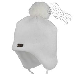Dívčí zavazovací čepice Bílá třpytky RDX
