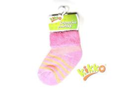 Kojenecké ponožky froté KIKKO 0-6 m růžové proužky typ 14