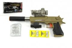 Pistole kov/plast 33cm na vodní kuličky + náboje na baterie se světlem
