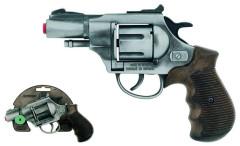 Policejní revolver Gold colection stříbrný kovový 12 ran