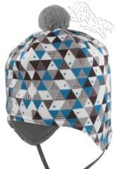 Zimní čepice na uši s bambulkou fleece trojúhelníky tyrkysové RDX