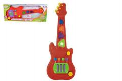 Elektronická kytara plast 48cm na baterie se zvukem se světlem