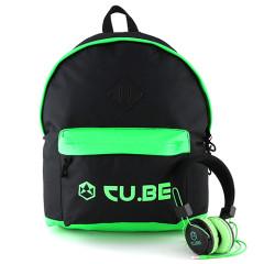 Batoh se sluchátky CU.BE - černý s neonově zelenými doplňky