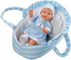 Panenka/miminko vonící měkké tělo 28cm modré v tašce na baterie